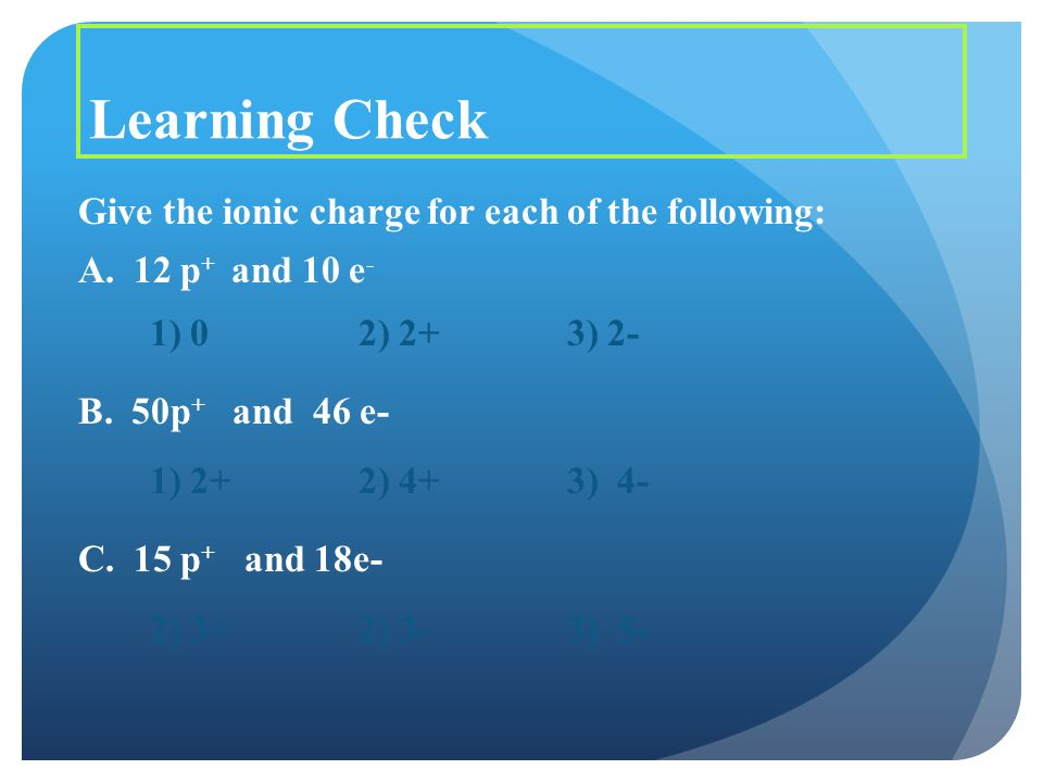 Learning Check Give the ionic charge for each of the following: A.