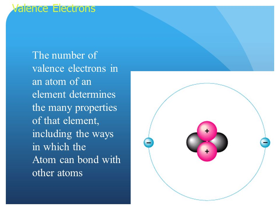 Valence Electrons The number of valence electrons in an atom of an element determines the many properties of that element, including the ways in which the Atom can bond with other atoms