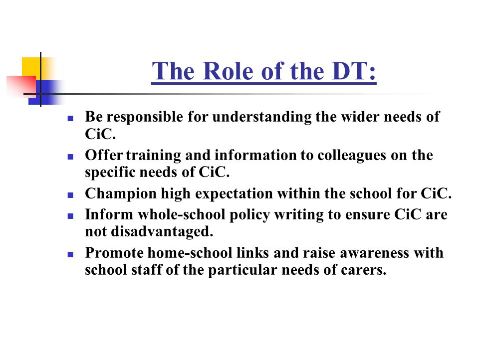 The Role of the DT: Be responsible for understanding the wider needs of CiC.