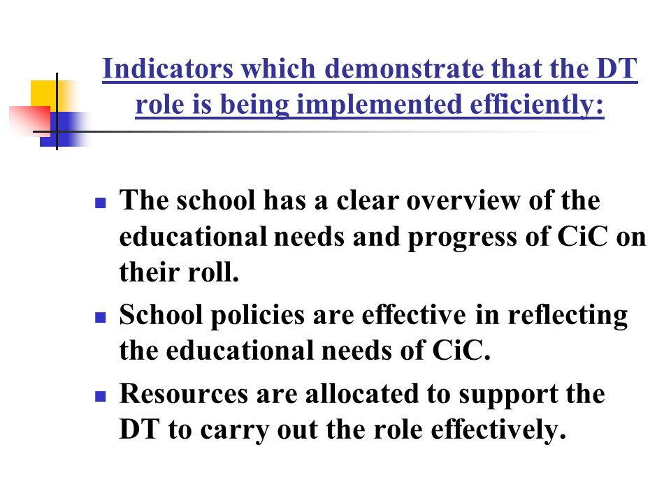 Indicators which demonstrate that the DT role is being implemented efficiently: The school has a clear overview of the educational needs and progress of CiC on their roll.