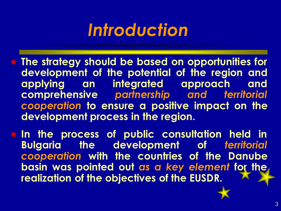 Introduction The strategy should be based on opportunities for development of the potential of the region and applying an integrated approach and comprehensive partnership and territorial cooperation to ensure a positive impact on the development process in the region.