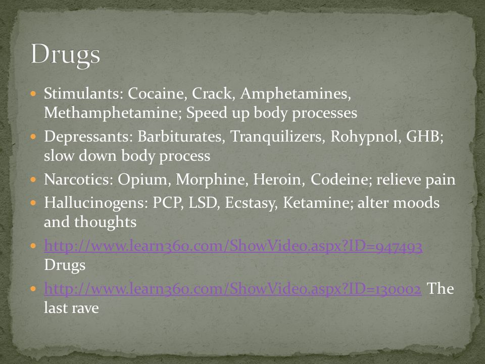 Stimulants: Cocaine, Crack, Amphetamines, Methamphetamine; Speed up body processes Depressants: Barbiturates, Tranquilizers, Rohypnol, GHB; slow down body process Narcotics: Opium, Morphine, Heroin, Codeine; relieve pain Hallucinogens: PCP, LSD, Ecstasy, Ketamine; alter moods and thoughts   ID= Drugs   ID= ID= The last rave   ID=130002