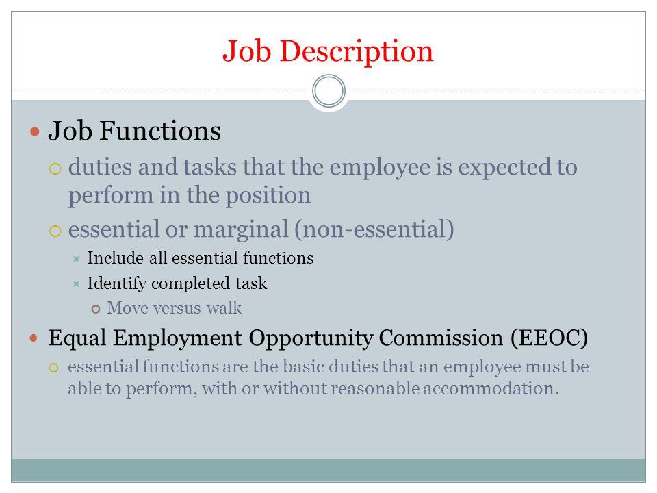 the job description job description job functions duties and