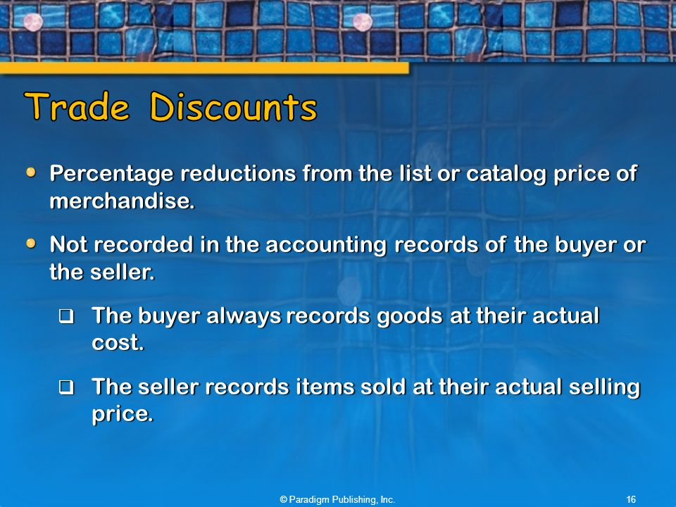 Percentage reductions from the list or catalog price of merchandise.