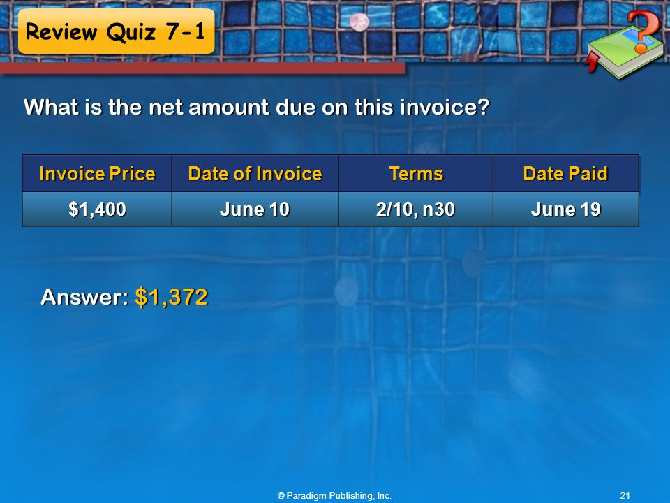Review Quiz 7-1 What is the net amount due on this invoice.