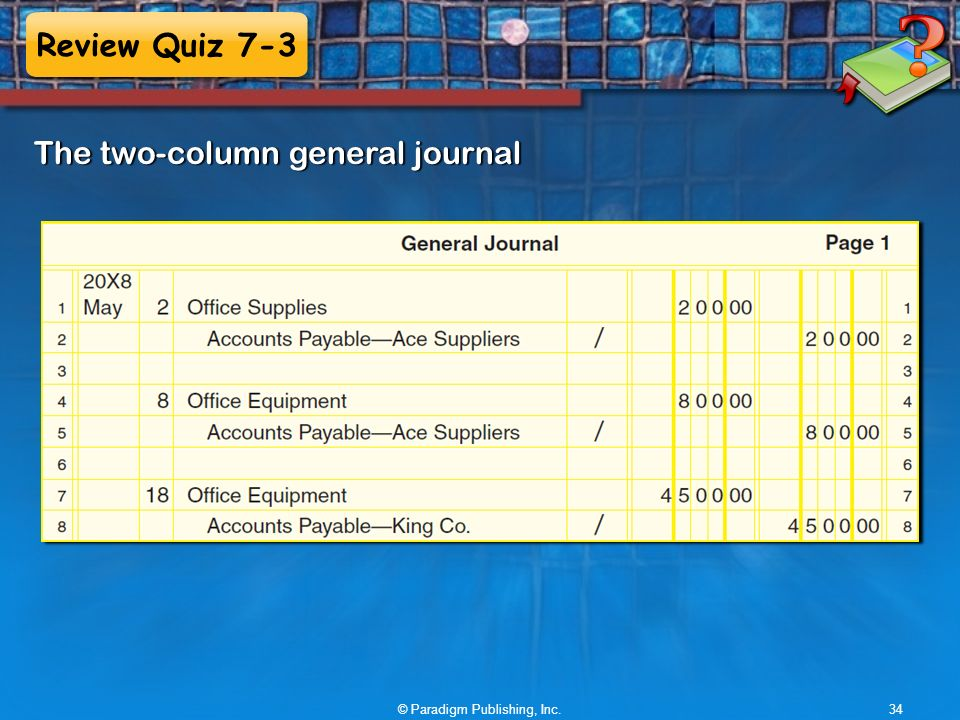 Review Quiz 7-3 © Paradigm Publishing, Inc.34 The two-column general journal