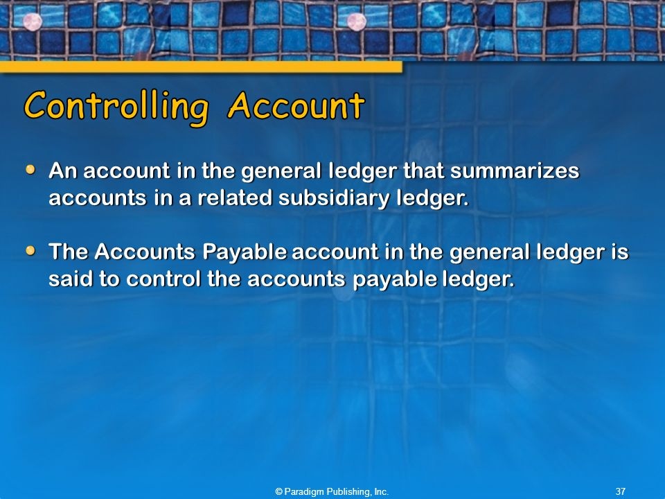An account in the general ledger that summarizes accounts in a related subsidiary ledger.