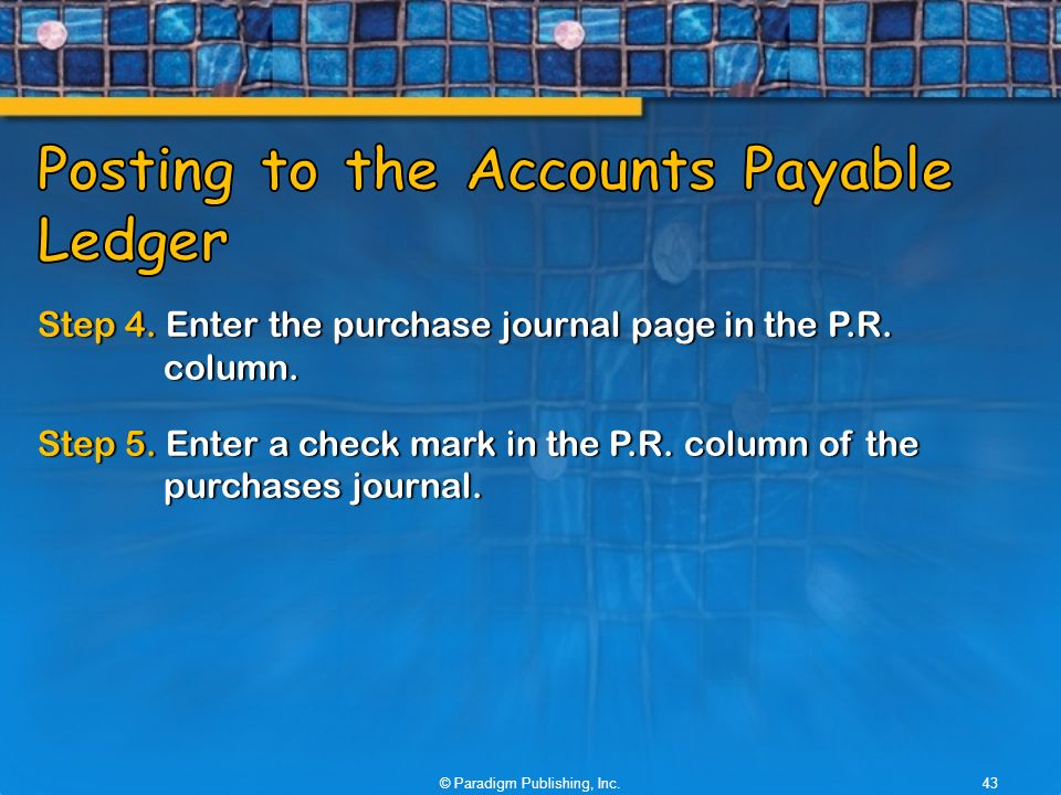Step 4. Enter the purchase journal page in the P.R.