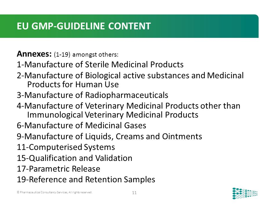 Comparison of the eu gmp guide annex 1 sterile manufacturing.