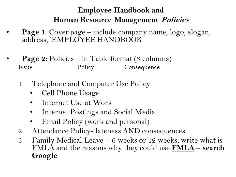 1 employee handbook and human resource management policies