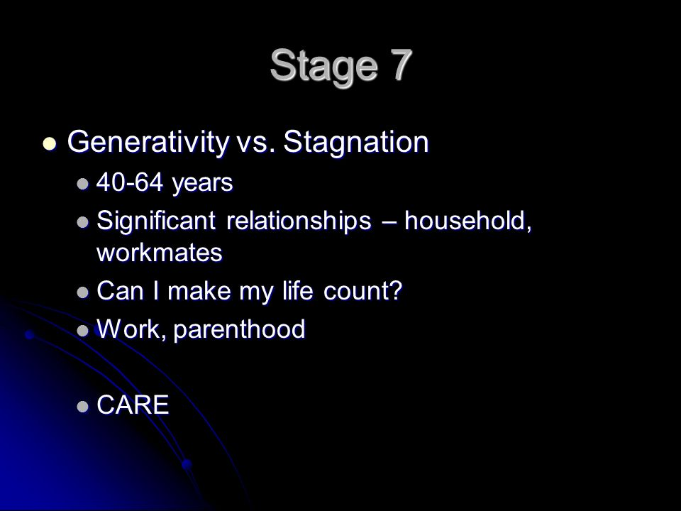 Stage 7 Generativity vs. Stagnation Generativity vs.
