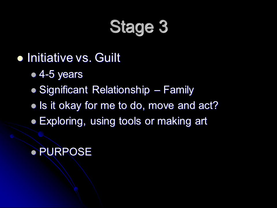 Stage 3 Initiative vs. Guilt Initiative vs.