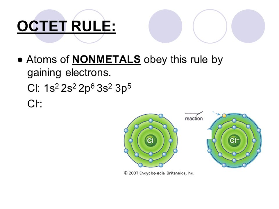 OCTET RULE: ● Atoms of NONMETALS obey this rule by gaining electrons.