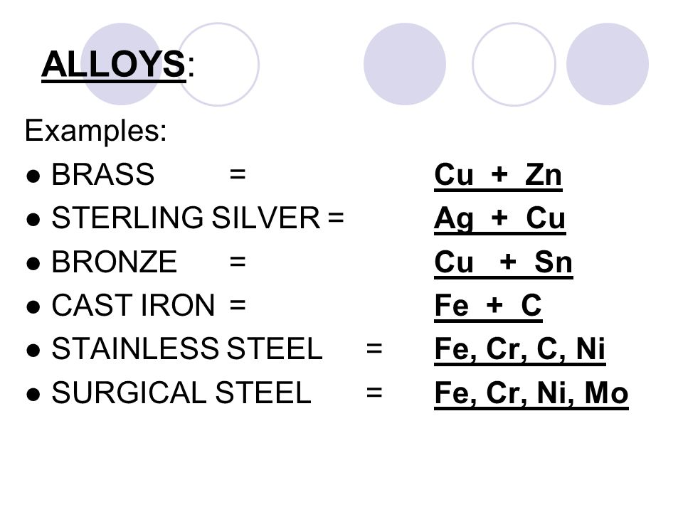 ALLOYS: Examples: ● BRASS=Cu + Zn ● STERLING SILVER =Ag + Cu ● BRONZE=Cu + Sn ● CAST IRON=Fe + C ● STAINLESS STEEL=Fe, Cr, C, Ni ● SURGICAL STEEL=Fe, Cr, Ni, Mo