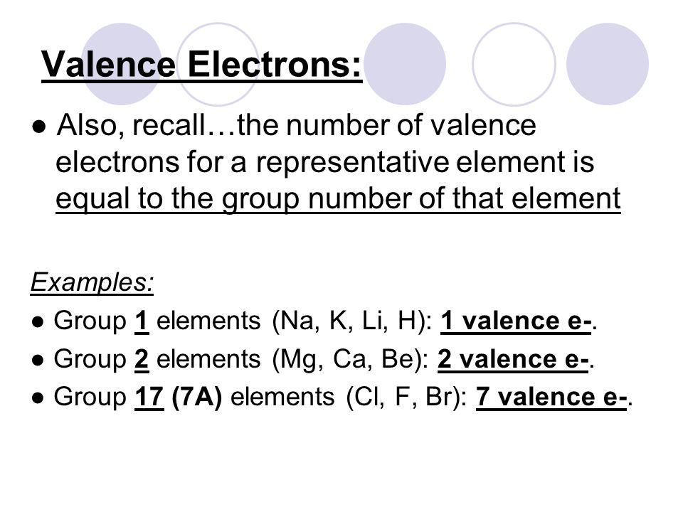Valence Electrons: ● Also, recall…the number of valence electrons for a representative element is equal to the group number of that element Examples: ● Group 1 elements (Na, K, Li, H): 1 valence e-.