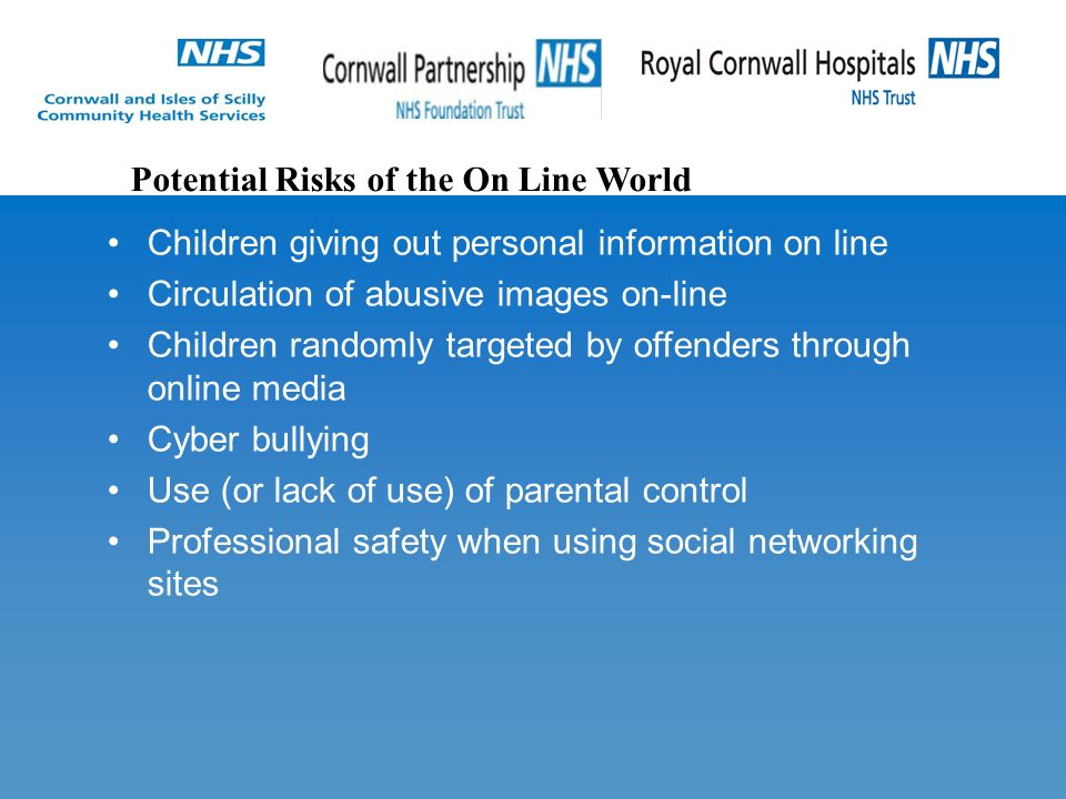 Children giving out personal information on line Circulation of abusive images on-line Children randomly targeted by offenders through online media Cyber bullying Use (or lack of use) of parental control Professional safety when using social networking sites Potential Risks of the On Line World