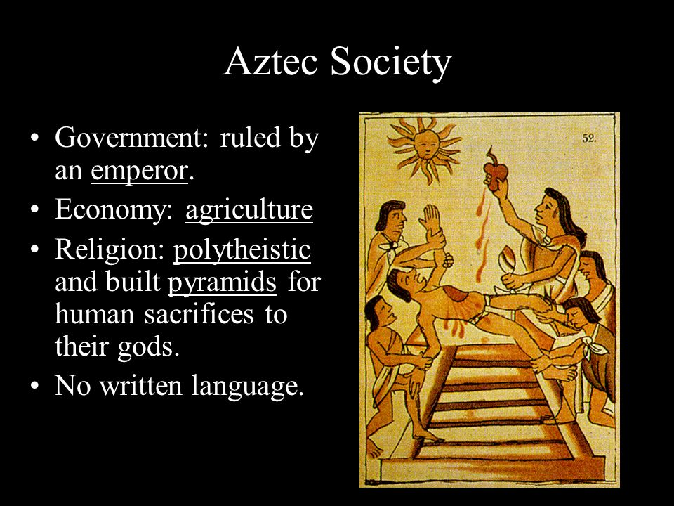 Aztec Society Government: ruled by an emperor.