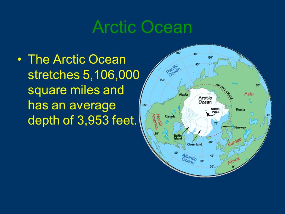 Arctic Ocean The Arctic Ocean stretches 5,106,000 square miles and has an average depth of 3,953 feet.