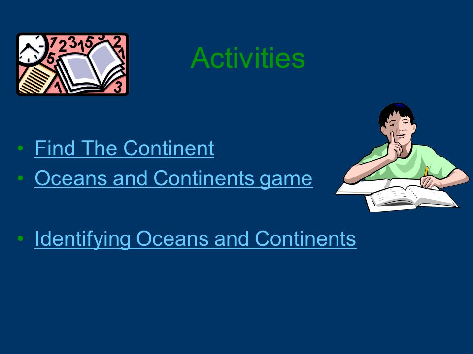 Activities Find The Continent Oceans and Continents game Identifying Oceans and Continents