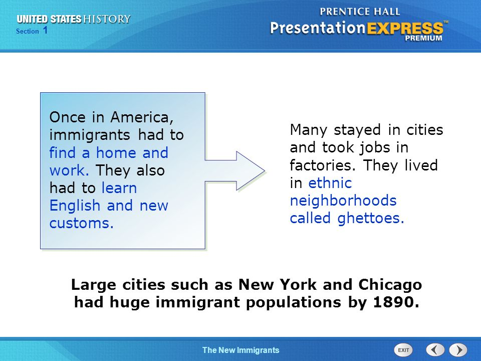 The Cold War BeginsTechnology and Industrial GrowthThe Cold War Begins Section 1 The New Immigrants Large cities such as New York and Chicago had huge immigrant populations by 1890.
