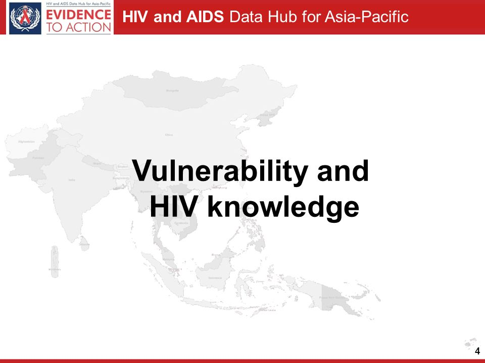 HIV and AIDS Data Hub for Asia-Pacific 4 Vulnerability and HIV knowledge