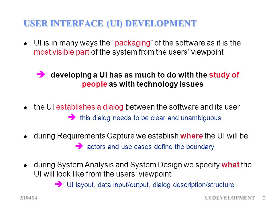 Ui Development 1 User Interface Development Software Engineering Software Engineering Ppt Download