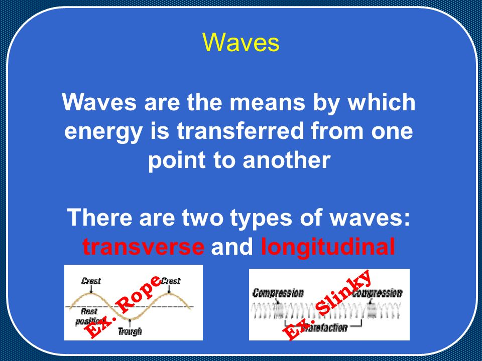 Waves Waves are the means by which energy is transferred from one point to another There are two types of waves: transverse and longitudinal Ex.