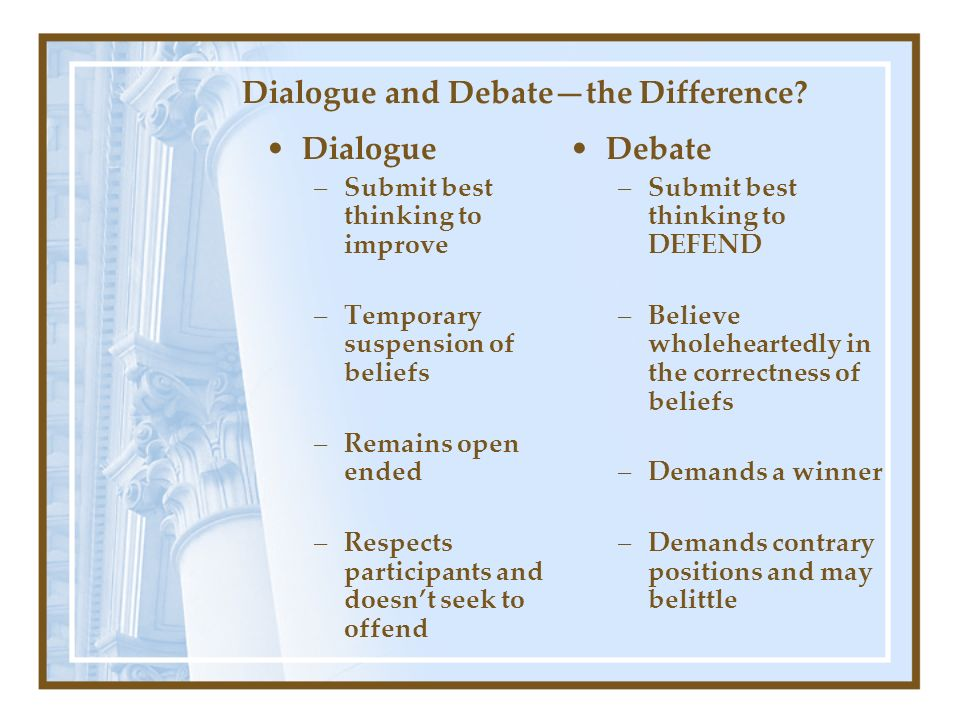Dialogue and Debate—the Difference.