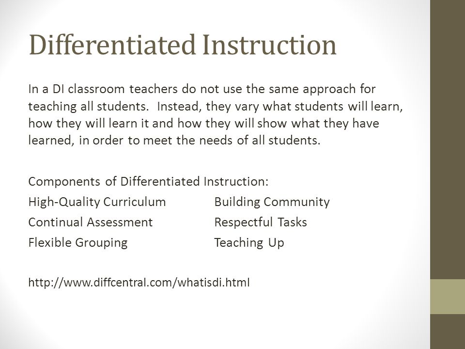 Differentiated instruction in learning classrooms / b1 di tools.