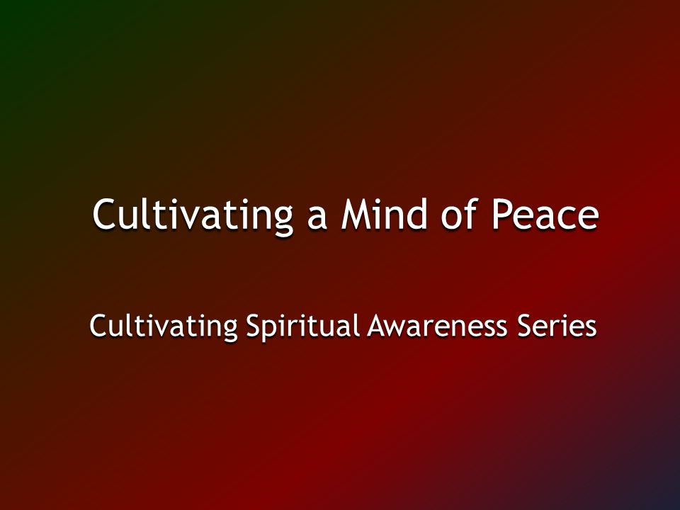 Cultivating a Mind of Peace Cultivating Spiritual Awareness Series