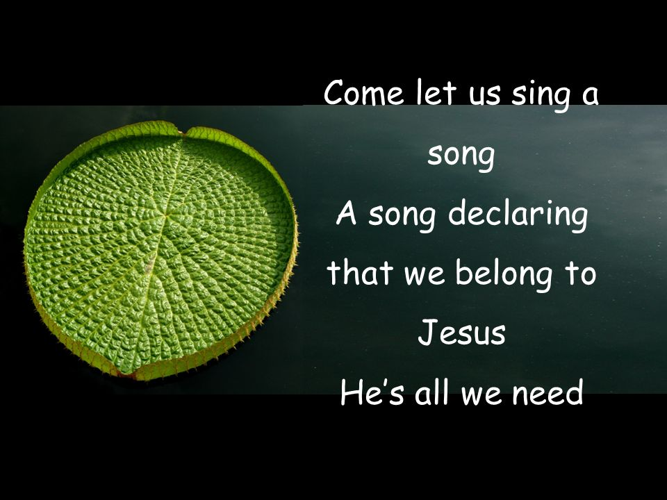 Come let us sing a song A song declaring that we belong to Jesus He's all we need