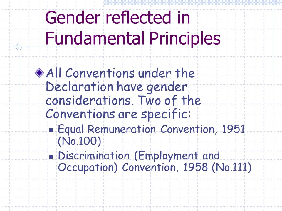 Gender reflected in Fundamental Principles All Conventions under the Declaration have gender considerations.