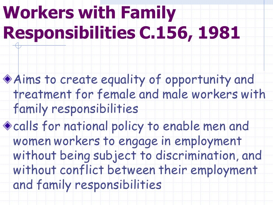 Workers with Family Responsibilities C.156, 1981 Aims to create equality of opportunity and treatment for female and male workers with family responsibilities calls for national policy to enable men and women workers to engage in employment without being subject to discrimination, and without conflict between their employment and family responsibilities