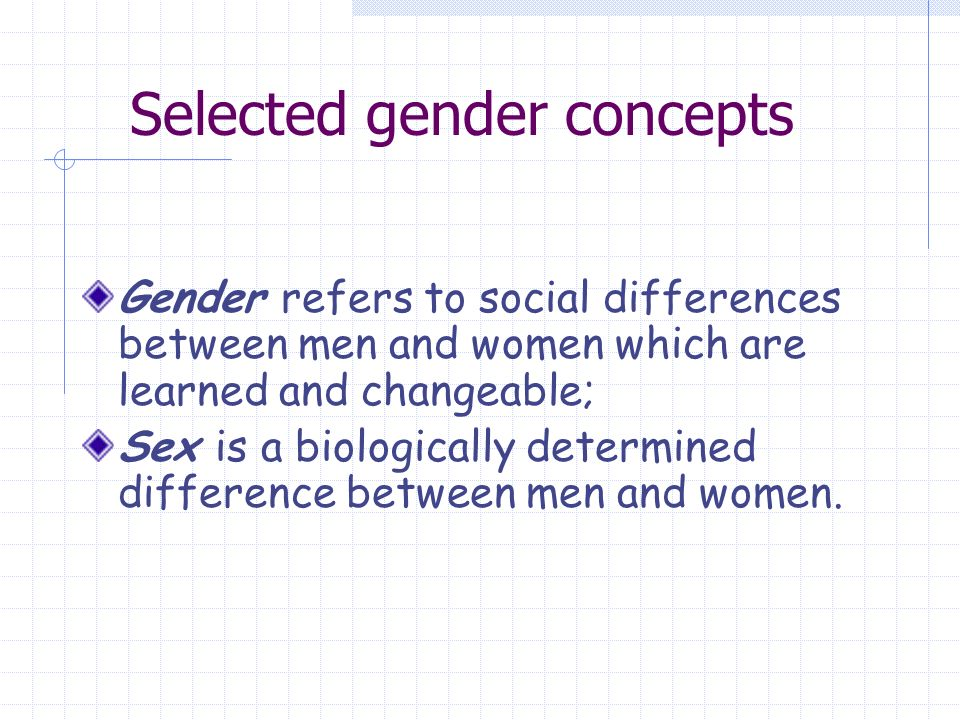 Selected gender concepts Gender refers to social differences between men and women which are learned and changeable; Sex is a biologically determined difference between men and women.