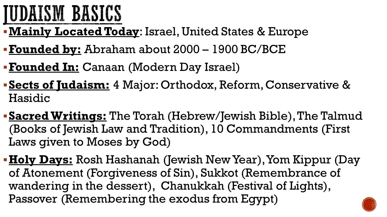  Mainly Located Today: Israel, United States & Europe  Founded by: Abraham about 2000 – 1900 BC/BCE  Founded In: Canaan (Modern Day Israel)  Sects of Judaism: 4 Major: Orthodox, Reform, Conservative & Hasidic  Sacred Writings: The Torah (Hebrew/Jewish Bible), The Talmud (Books of Jewish Law and Tradition), 10 Commandments (First Laws given to Moses by God)  Holy Days: Rosh Hashanah (Jewish New Year), Yom Kippur (Day of Atonement (Forgiveness of Sin), Sukkot (Remembrance of wandering in the dessert), Chanukkah (Festival of Lights), Passover (Remembering the exodus from Egypt)