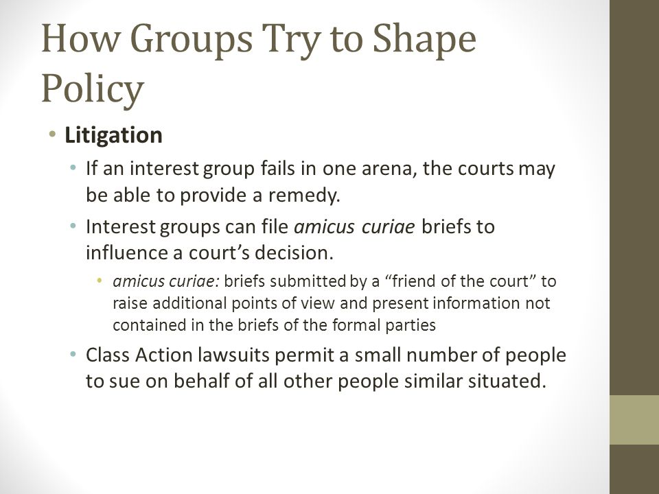 How Groups Try to Shape Policy Litigation If an interest group fails in one arena, the courts may be able to provide a remedy.