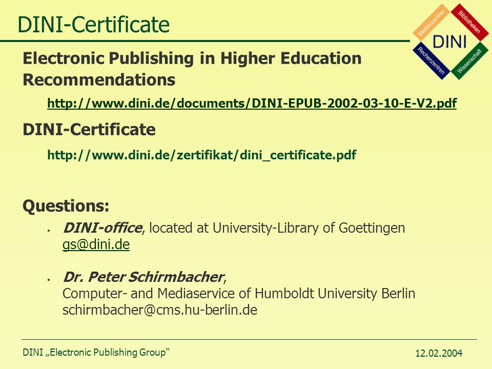 """DINI """"Electronic Publishing Group"""" DINI – Certificate Document and ..."""