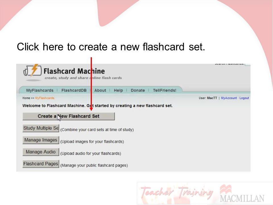 Click here to create a new flashcard set.