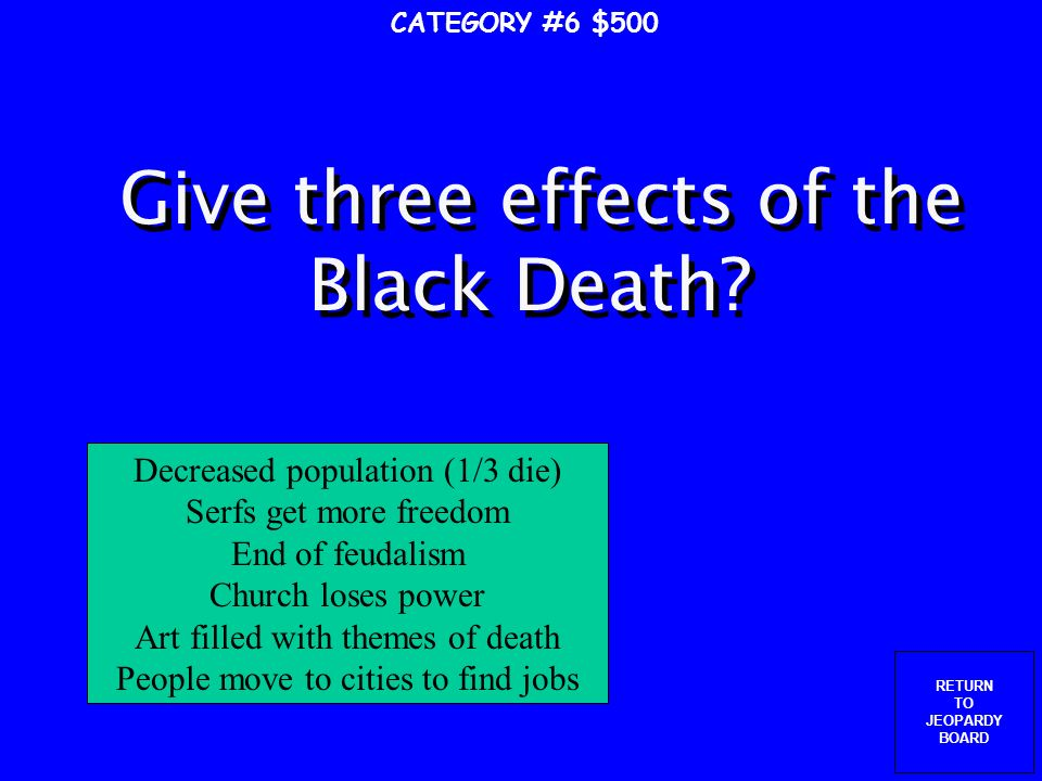 RETURN TO JEOPARDY BOARD CATEGORY #6 $400 Where (what place in the world) does the Black Death come from.