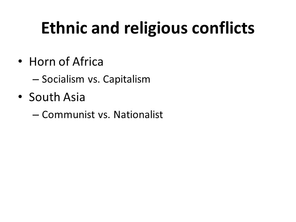 Ethnic and religious conflicts Horn of Africa – Socialism vs.