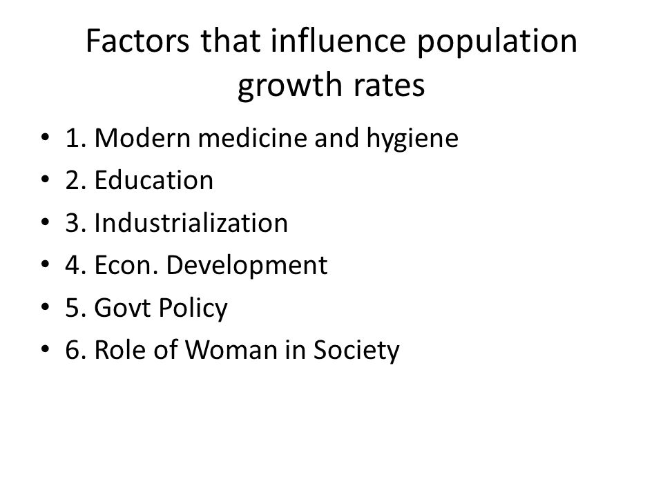 Factors that influence population growth rates 1. Modern medicine and hygiene 2.