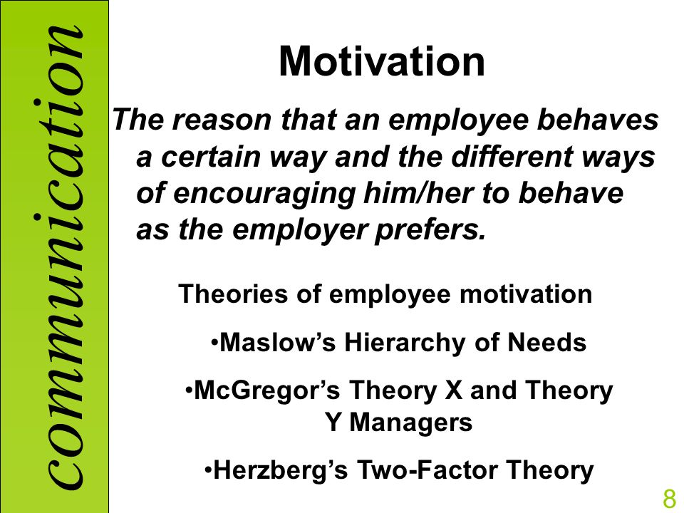 motivation partnership between employer and employee Work motivation factor: the reason, or reasons that an employee is productive and remains with the place of employment, making positive contributions to the workplace environment.