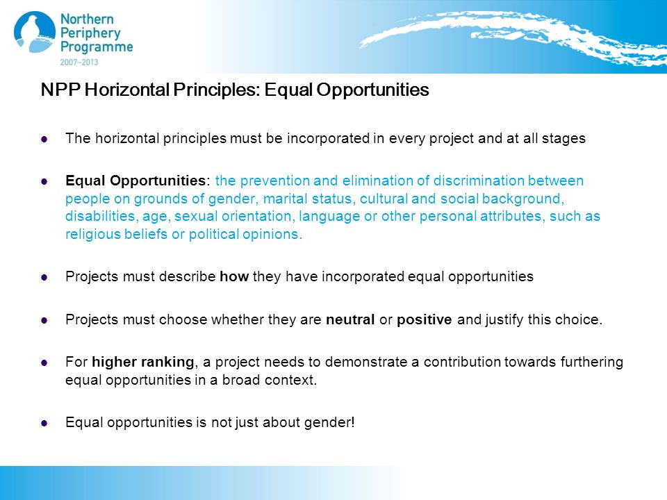 NPP Horizontal Principles: Equal Opportunities The horizontal principles must be incorporated in every project and at all stages Equal Opportunities: the prevention and elimination of discrimination between people on grounds of gender, marital status, cultural and social background, disabilities, age, sexual orientation, language or other personal attributes, such as religious beliefs or political opinions.