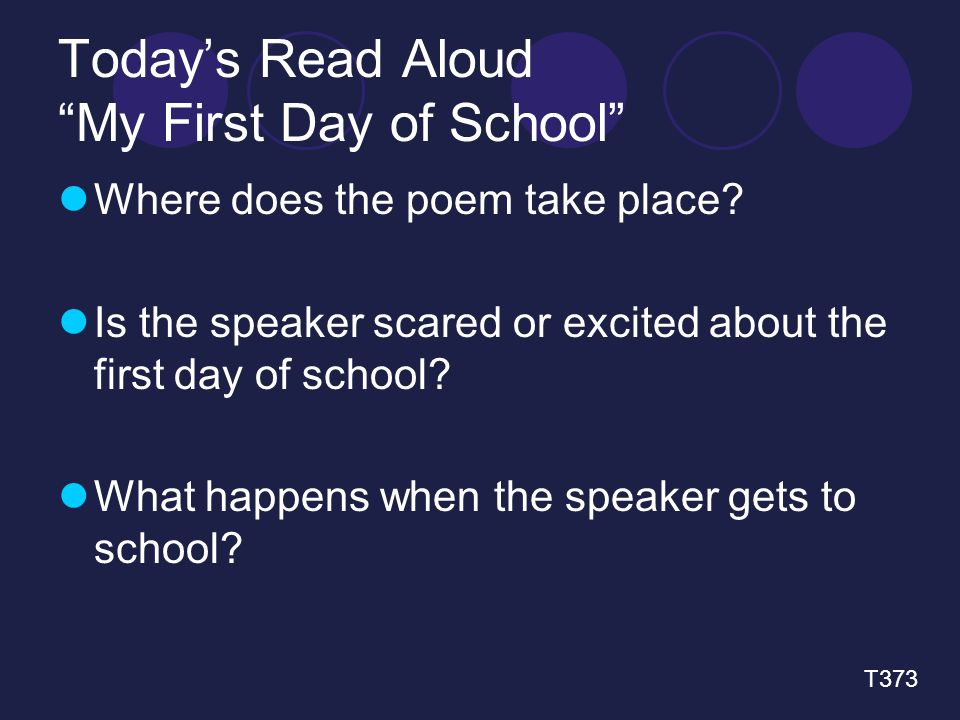 Today's Read Aloud My First Day of School Where does the poem take place.