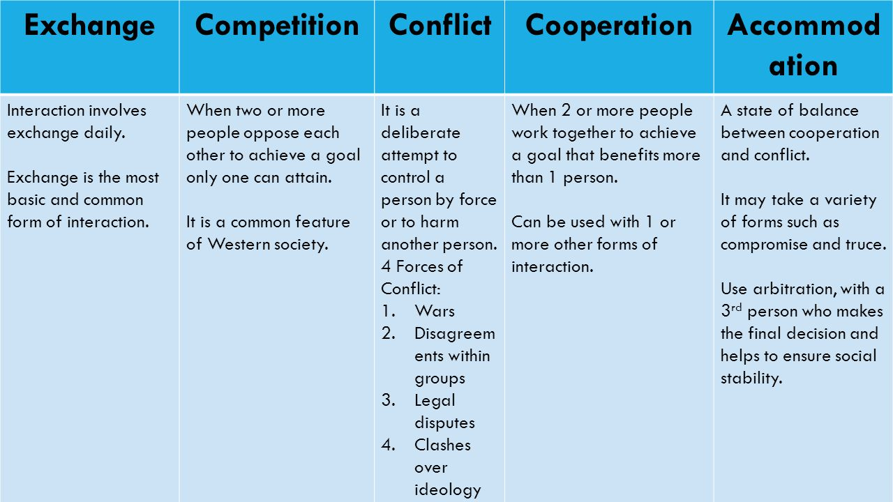 TYPES OF SOCIAL INTERACTION ExchangeCompetitionConflictCooperationAccommod ation Interaction involves exchange daily.