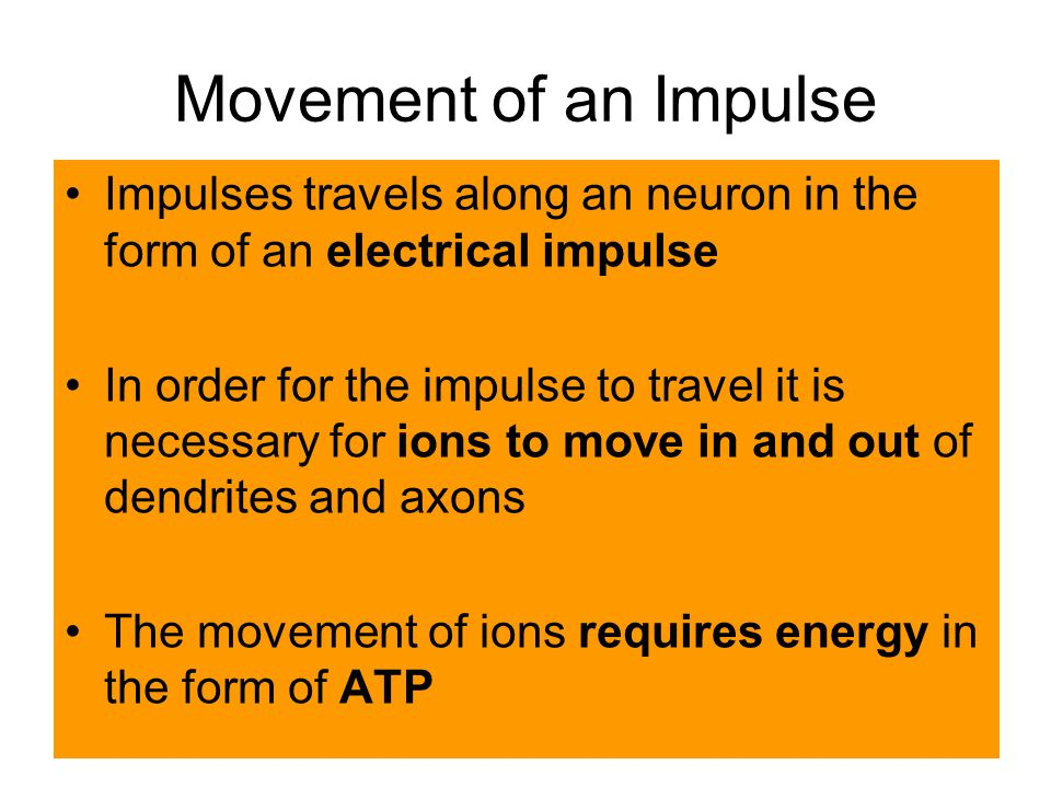 Movement of an Impulse Impulses travels along an neuron in the form of an electrical impulse In order for the impulse to travel it is necessary for ions to move in and out of dendrites and axons The movement of ions requires energy in the form of ATP