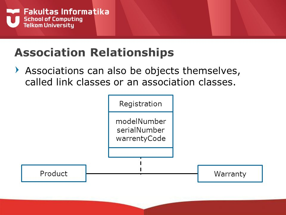 12-CRS-0106 REVISED 8 FEB 2013 Associations can also be objects themselves, called link classes or an association classes.