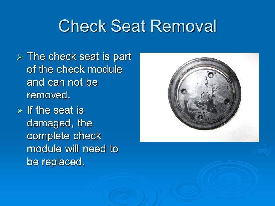 Check Seat Removal  The check seat is part of the check module and can not be removed.