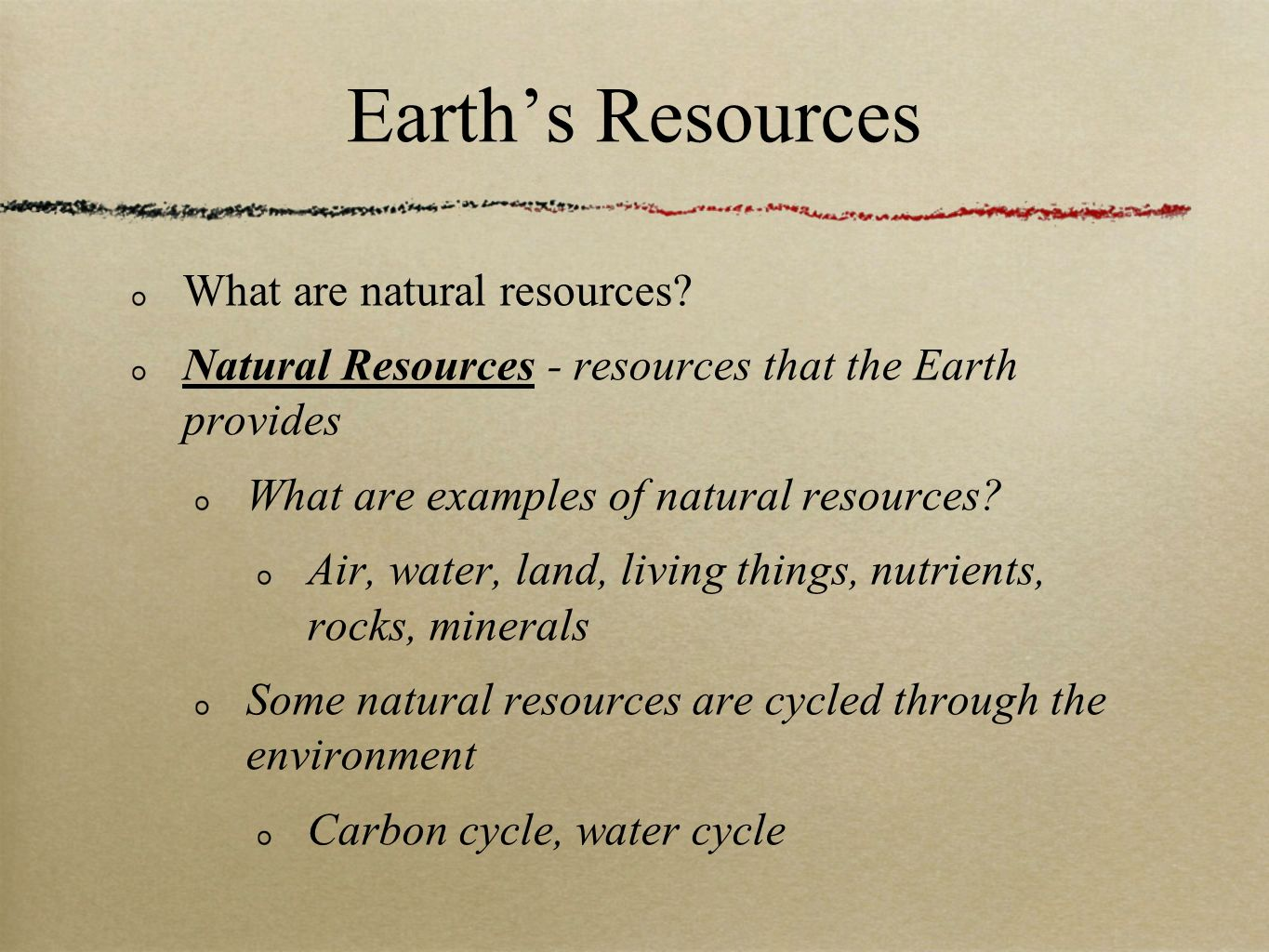 Earth's Resources What are natural resources.