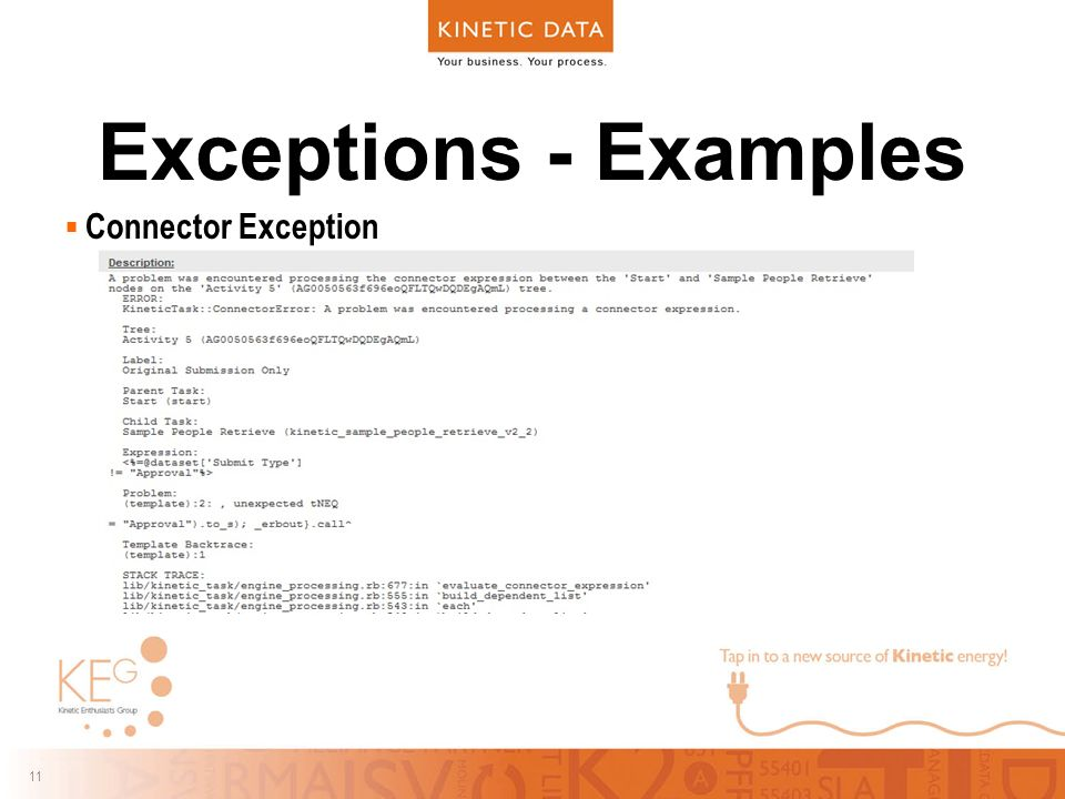 11 Exceptions - Examples  Connector Exception